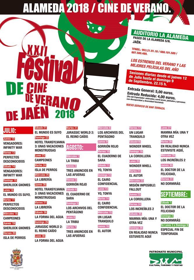 Cartelera Cine de Verano Jaén 2018